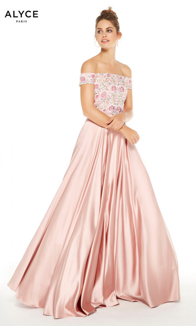Rose Gold prom dress with floral embroidery on bodice and off the shoulder neckline