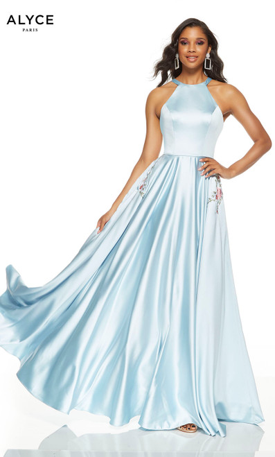 Ice Blue prom dress with floral embroidery at pockets and a halter neckline
