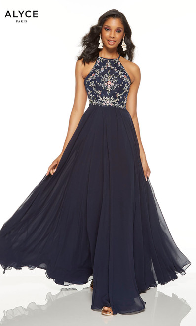 Midnight flowy embroidered prom dress with a halter neckline and front slit