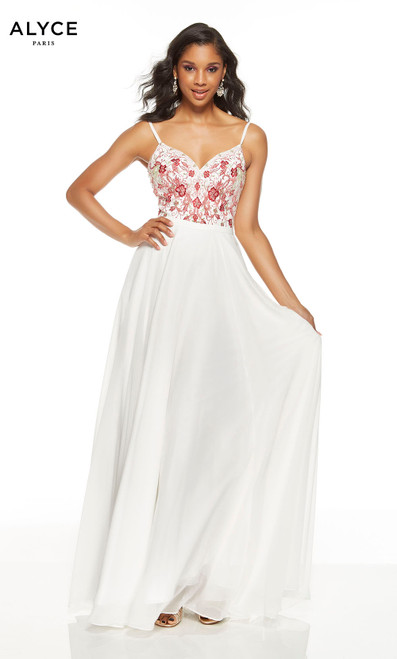 Flowy diamond white formal dress with an embroidered bodice and a V-neckline
