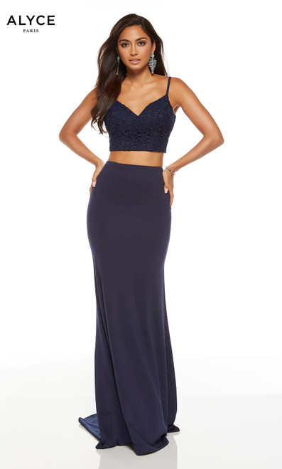 Midnight Formal two piece bodycon dress with a  v-neckline