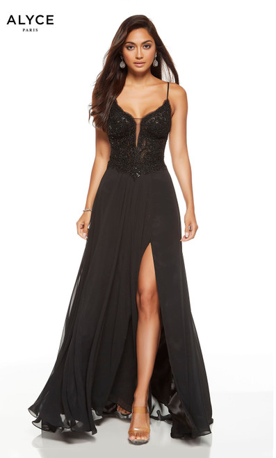 Black formal dress with a plunging neckline and slit
