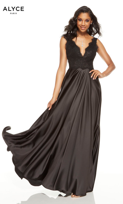 Flowy Black formal dress with V-neckline