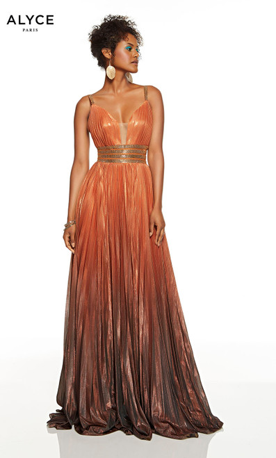 Metallic Copper red-carpet dress with a plunging neckline