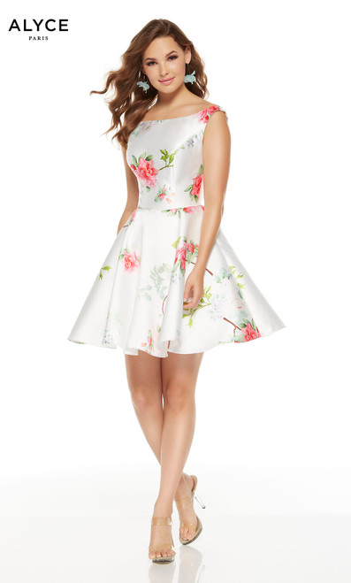 Short Diamond White graduation dress with pink flowers and a bateau neckline