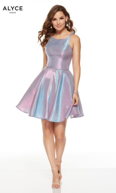 Short Unicorn (Violet) metallic graduation dress with a scooped neckline