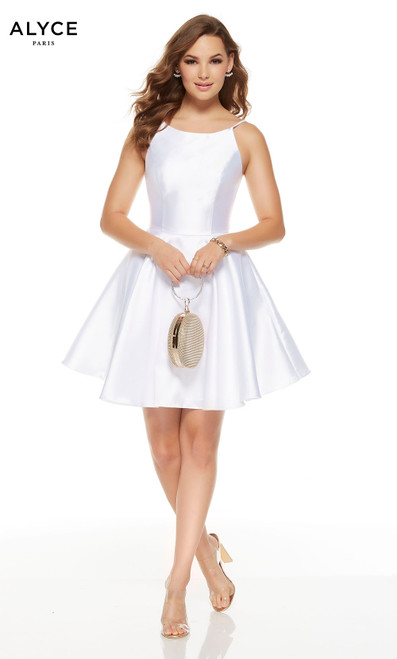 Short Diamond White graduation dress with a scooped neckline