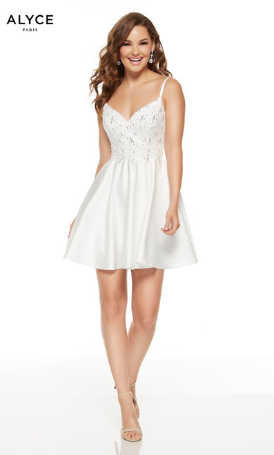 Short Diamond White graduation dress with a V-neckline