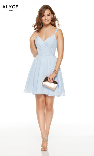 Short and flowy Glacier Blue semi formal dress with a v-neckline