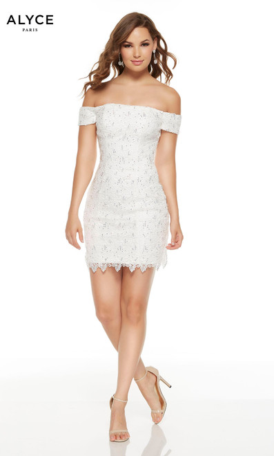 Short Diamond White lace graduation dress with an off the shoulder neckline