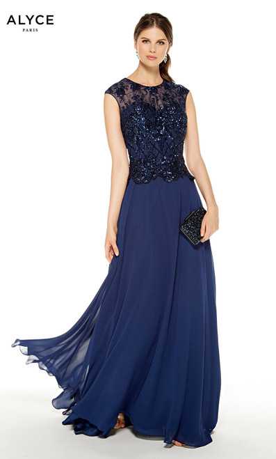 Flowy Navy mother of the bride dress with black sequin detail on bodice and a illusion neckline