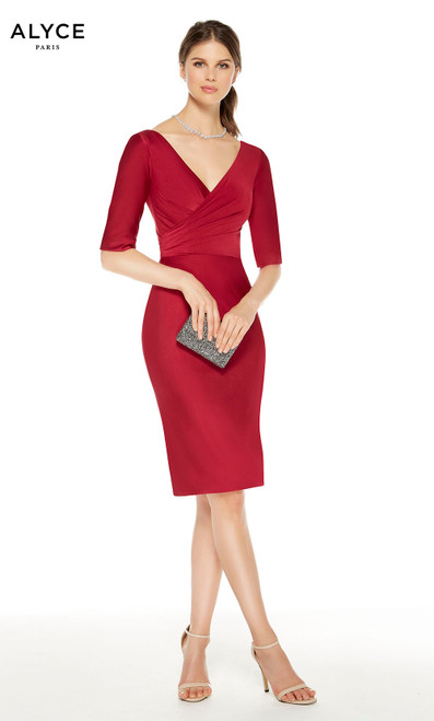 Short Wine colored mother of the bride dress with a V-neckline and 3/4 sleeves