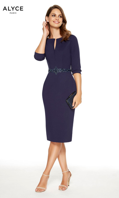 Short Navy mother of the bride dress with a high neckline and 3/4 sleeves