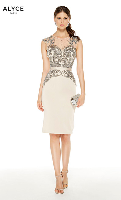 Short Light Taupe beaded wedding guest dress with an illusion neckline