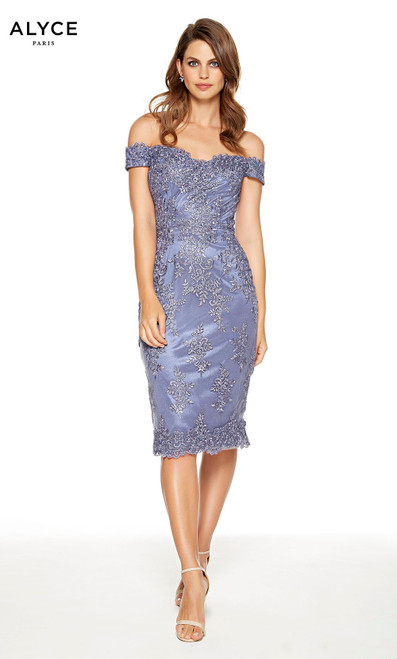 Short Dusty Purple lace wedding guest dress with an off the shoulder neckline
