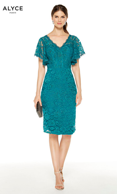 Short Turkish Blue lace mother of the bride dress with a  V-neckline and butterfly sleeves
