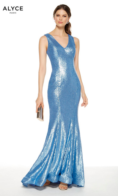 French Blue sequin mermaid style guest of wedding dress with a V-neckline