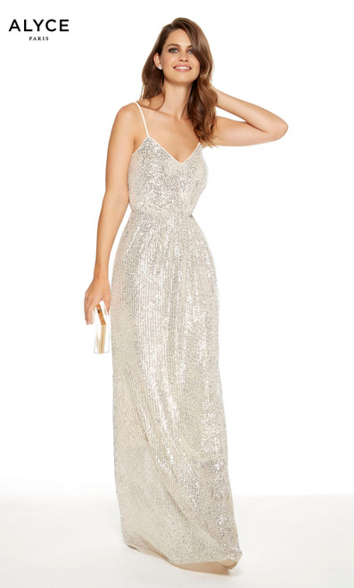Sand colored sequin guest of wedding dress with a gathered waist and V-neckline