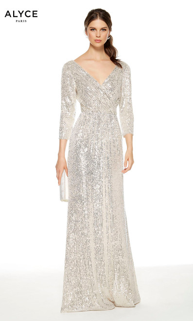 Sand colored sequin formal dress with a V-neckline and 3/4 sleeves