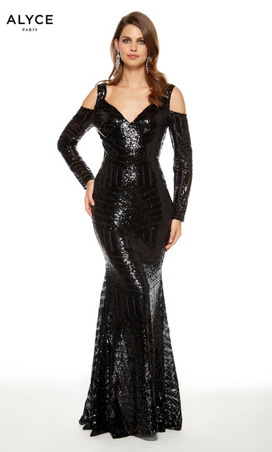 Black sequin mermaid formal dress with a V-neck, shoulder cutouts and long sleeves