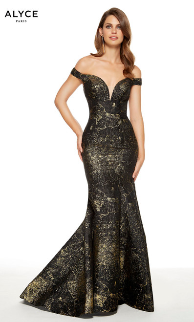 Black-Gold off the shoulder mermaid style red-carpet dress