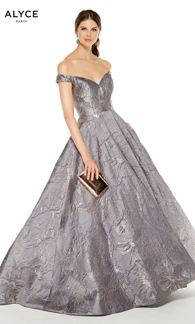 Charcoal off the shoulder formal ball gown with metallic floral accents