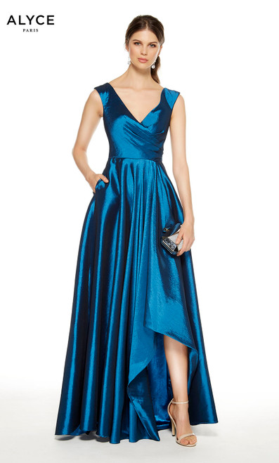 Blue Coral high-low formal dress with a v-neckline and pockets