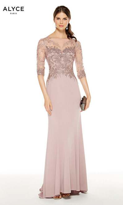 Cashmere Rose embroidered mother of the bride dress with an illusion neckline and 3/4 sleeves
