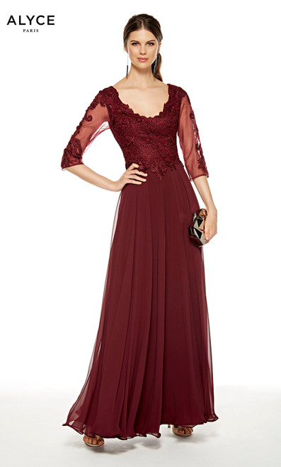 Black Cherry flowy formal dress with a scoop neck and 3/4 sleeves