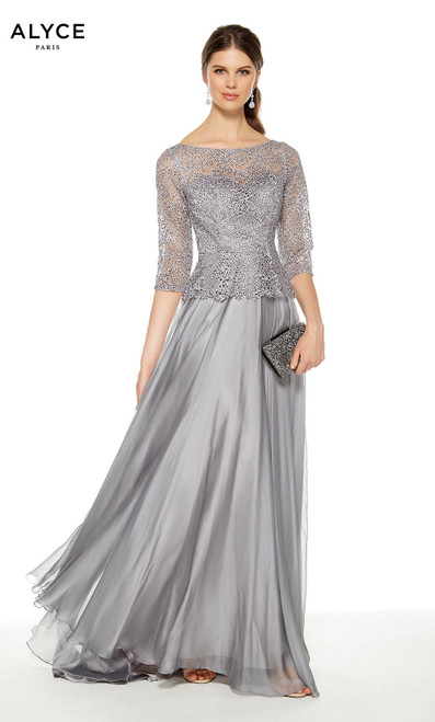 Silver flowy mother of the bride dress with a 3/4 sleeve lace peplum top