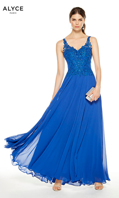 Flowy Sapphire Blue formal dress with a V-neck and embellished bodice