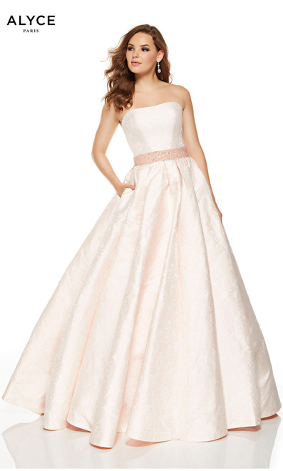 Blush strapless formal ball gown with pockets and a beaded belt