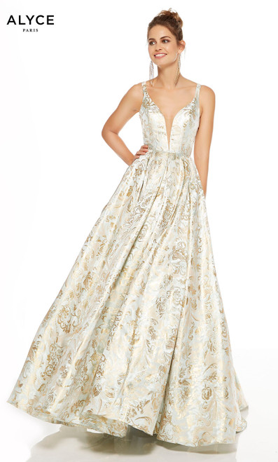 Hush-Gold jacquard print formal ball gown with a plunging neckline