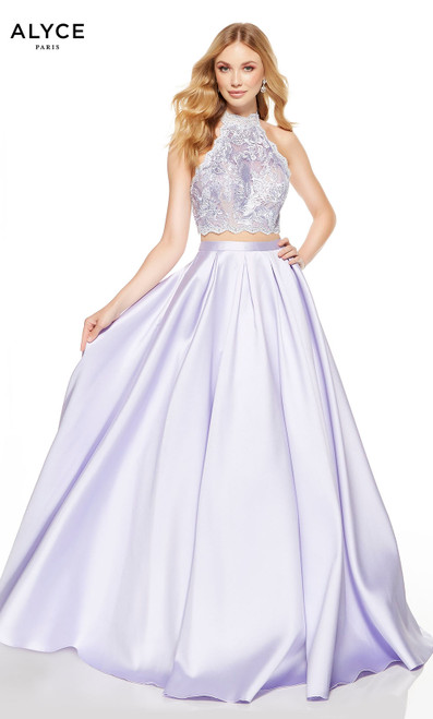 Ice Lilac-Malibu two piece prom dress with a scalloped halter top