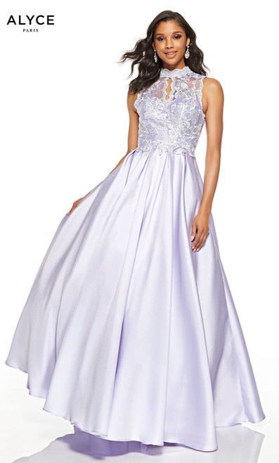 Ice Lilac prom dress with a lace illusion high neck