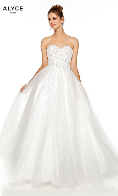 Diamond White strapless tulle ball gown with pearl accents and beaded bodice