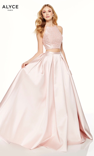 French Pink two piece prom dress with a beaded halter crop top