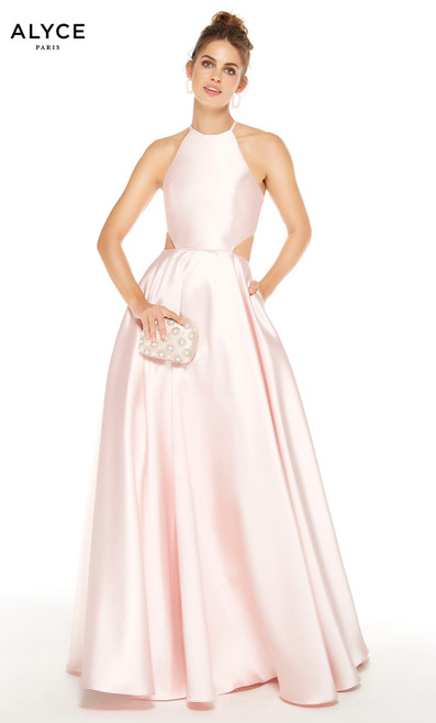 French Pink formal dress with pockets, side cutouts and a halter neckline