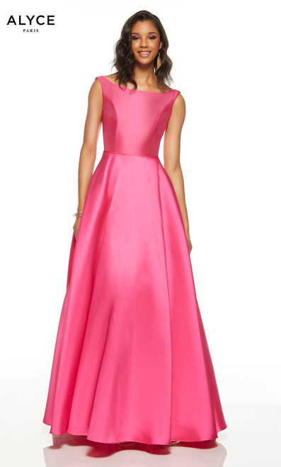 Raspberry prom dress with a bateau neckline