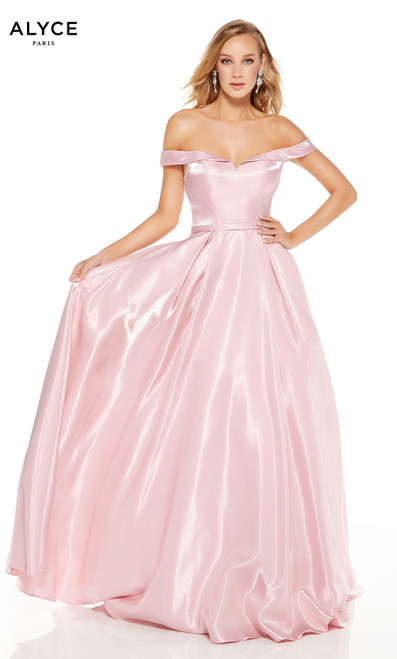 Light Mauve off the shoulder formal ball gown