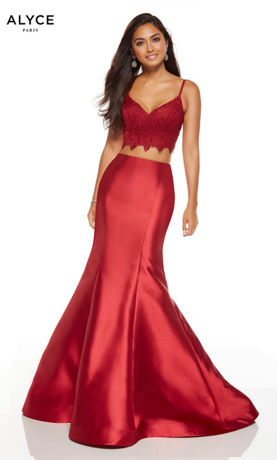 Wine two piece mermaid style prom dress with a lace crop top and a V-neck