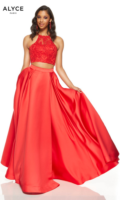 Red two piece prom dress with a lace halter crop top