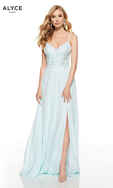 Flowy Hush Blue wedding guest dress with a lace bodice, V-neckline and front