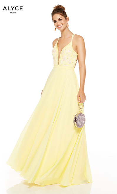 Flowy Lemon Drop prom dress with floral embroidery on bodice and a plunging neckline