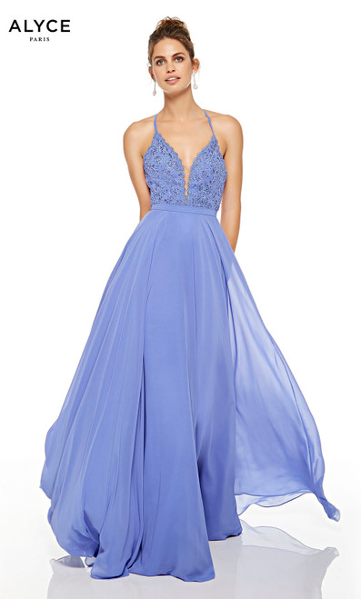 Blue Iris wedding guest dress with a plunging neckline