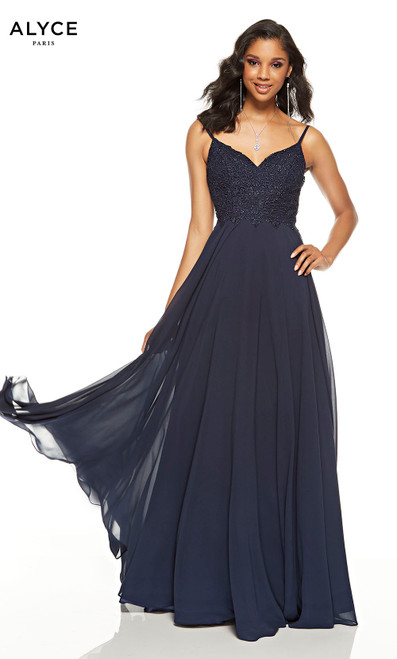 Flowy Midnight Blue formal dress with a V-neckline