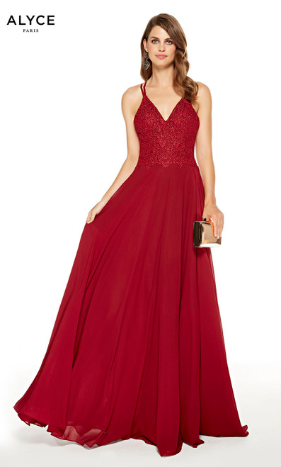 Wine Red formal gown with a V-neckline