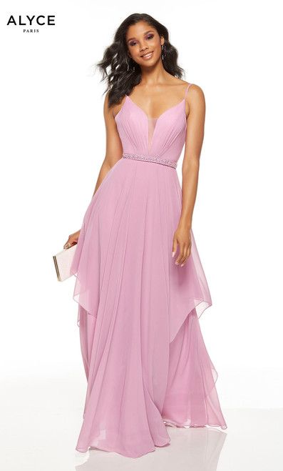 Flowy Light Orchid Pink formal dress with a beaded belt and a plunging neckline