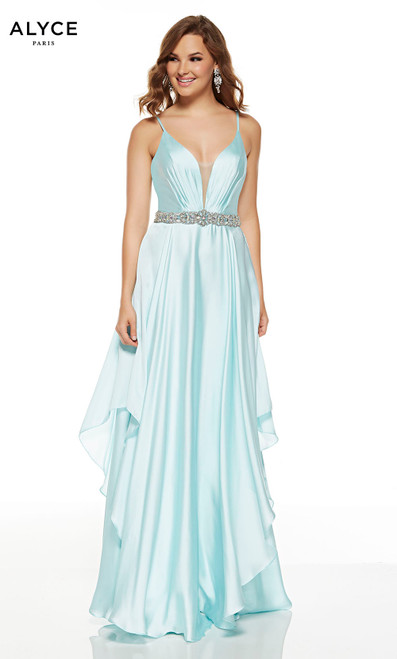 Flowy Sea Glass prom dress with a beaded belt and a plunging neckline