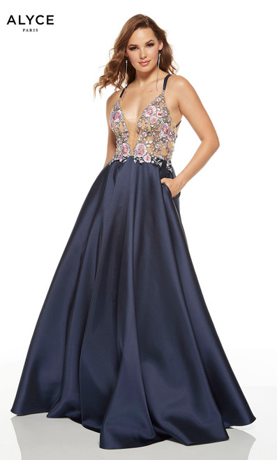Midnight Blue ball gown with pink floral embroidery on bodice, pockets and a plunging neckline